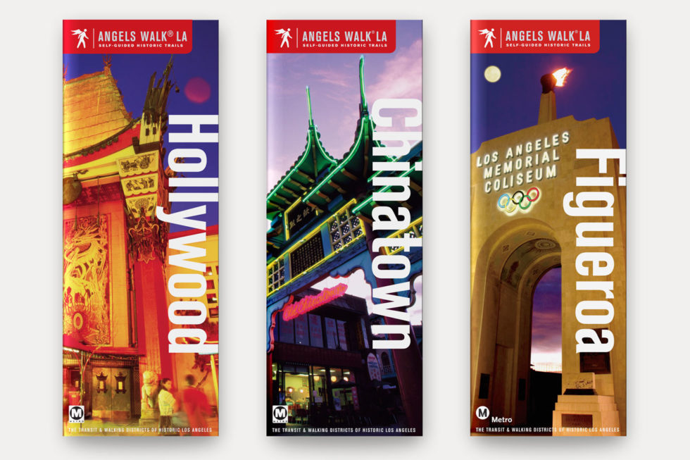 Visual samples of Angels Walk LA guidebook covers