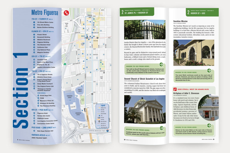 A visual sample of an Angels Walk LA trail map and guidebook pages