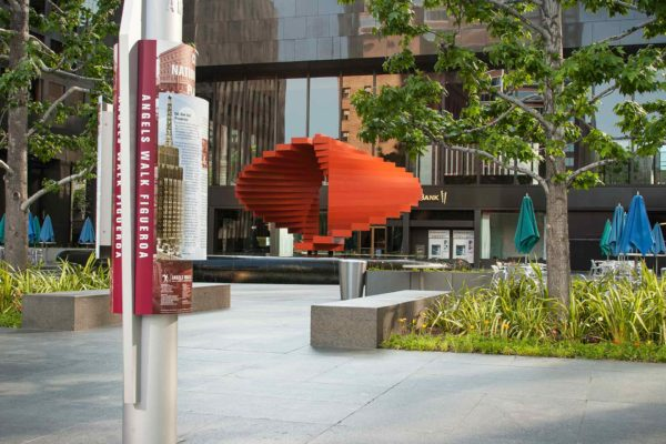 Herbert Bayer sculpture at City Nation Plaza