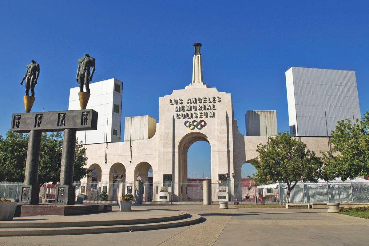 The Los Angeles Memorial Coliseum as seen on Angels Walk Figueroa