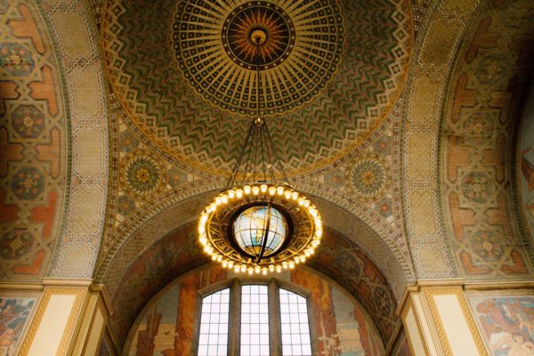 "The dramatically beautiful ornate ceiling of the Los Angeles Central Library is a ""must-see"" along Angels Walk Bunker Hill Historic Core."